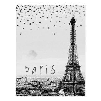 Eiffel Tower Paris City Gray Vintage confetti Postcard