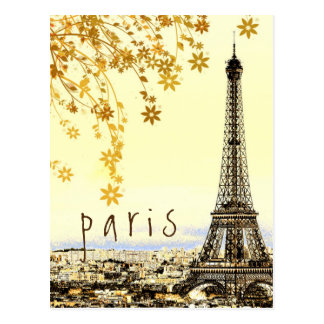 Eiffel Tower Paris City Rustic Vintage View Postcard