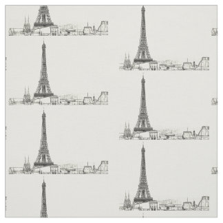 Eiffel Tower Paris Cityscape Sketches Craft Fabric