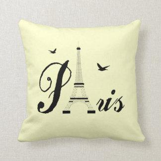 Eiffel Tower Paris Cream Black Picture Pillows