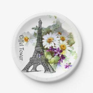 Eiffel Tower Paris Daisies Violets Paper Plate
