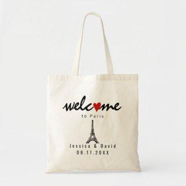 Beach Themed Eiffel Tower Paris destination wedding welcome Tote Bag