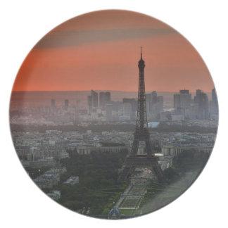 Eiffel Tower Paris Europe Travel Dinner Plate