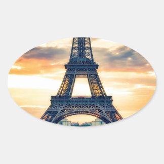 Eiffel Tower Paris Evening European Travel Oval Sticker