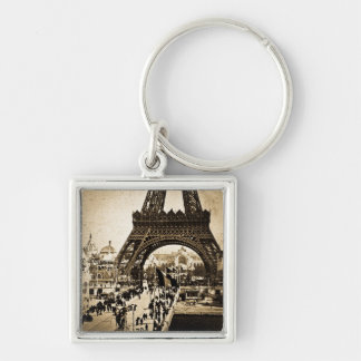 Eiffel Tower Paris Exposition Universelle Silver-Colored Square Keychain