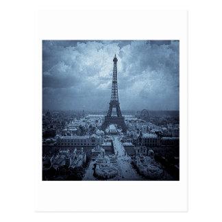 Eiffel Tower Paris France 1900 Blue Toned Postcard