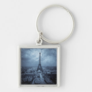 Eiffel Tower Paris France 1900 Blue Toned Silver-Colored Square Keychain