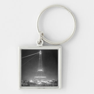Eiffel Tower Paris France 1900 Silver-Colored Square Keychain
