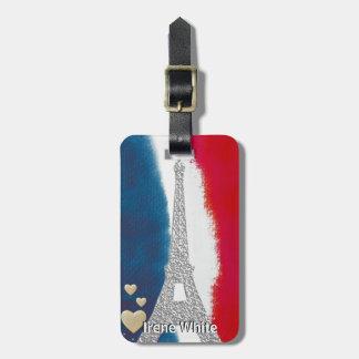 Eiffel Tower Paris France Custom Red White Blue Bag Tag