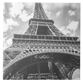 Eiffel Tower, Paris, France in black and white Large Square Tile