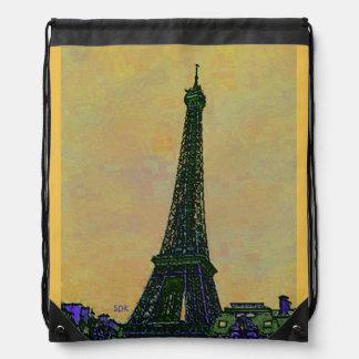 Eiffel Tower Paris France Landmark as Artistic Drawstring Backpack
