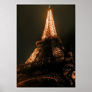 Eiffel Tower Paris France Nightlife City Poster
