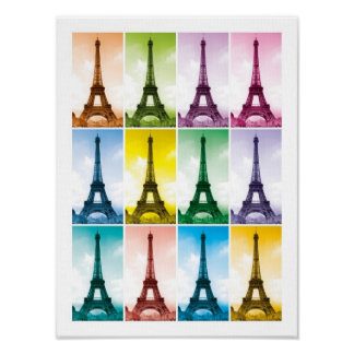 Eiffel Tower Paris France Pop Art Poster