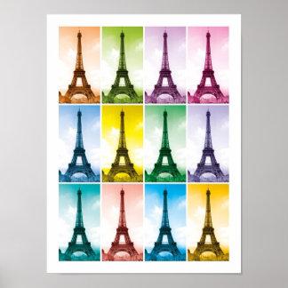 Eiffel Tower Paris France Pop Art Poster