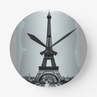 Eiffel Tower Paris France Round Clocks