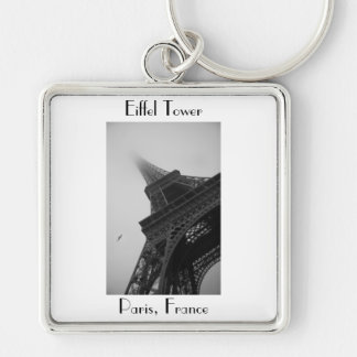 Eiffel Tower Paris France Silver-Colored Square Keychain