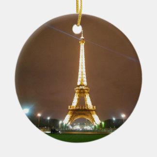 Eiffel Tower Paris France - Springtime Evening Double-Sided Ceramic Round Christmas Ornament