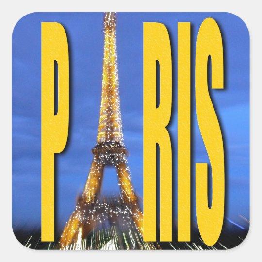 Eiffel Tower Paris France Square Sticker