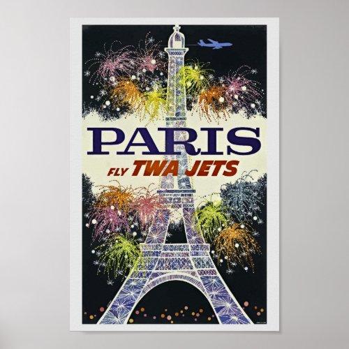 Eiffel Tower Paris France Vintage Travel Poster