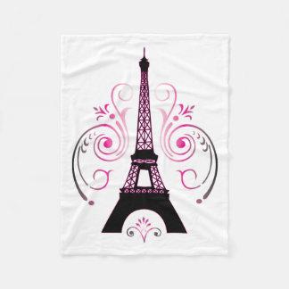 Eiffel Tower Paris Gradient Swirl Design Fleece Blanket