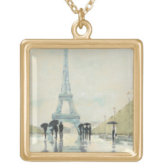 Eiffel Tower | Paris In The Rain Gold Plated Necklace