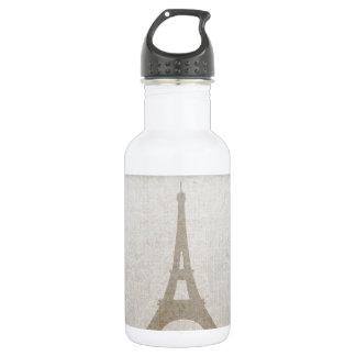 Eiffel Tower Paris linen burlap vintage rustic 18oz Water Bottle
