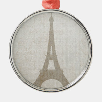 Eiffel Tower Paris linen burlap vintage rustic Christmas Ornament