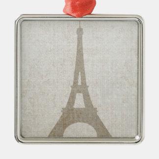 Eiffel Tower Paris linen burlap vintage rustic Christmas Tree Ornament