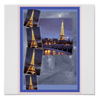 EIFFEL TOWER PARIS NOCTURNE POSTER