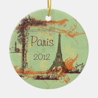 Eiffel Tower Paris Double-Sided Ceramic Round Christmas Ornament