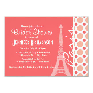 Eiffel Tower, Paris, Pink & Coral Polka Dots Card