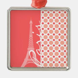 Eiffel Tower Paris Pink Coral Polka Dots Christmas Ornament