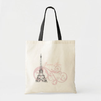 Eiffel Tower Paris Pink Tote Bag