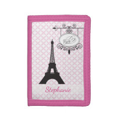 Eiffel Tower Paris Pink Wallet at Zazzle