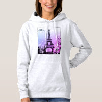 Eiffel Tower Paris (purple) Light Hoodie