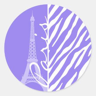 Eiffel Tower, Paris, Purple Zebra Stripes Classic Round Sticker