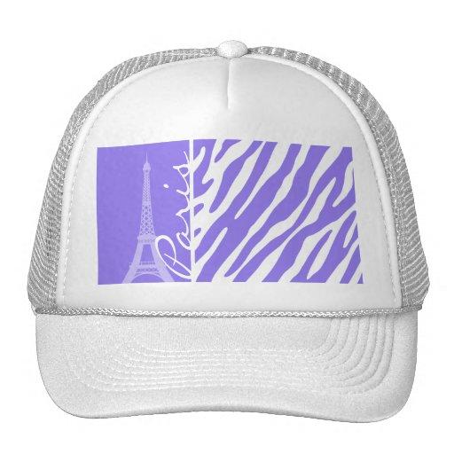 Eiffel Tower, Paris, Purple Zebra Stripes Mesh Hats