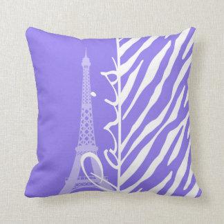 Eiffel Tower, Paris, Purple Zebra Stripes Throw Pillow