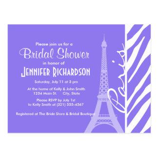 Eiffel Tower, Paris, Purple Zebra Stripes Postcard