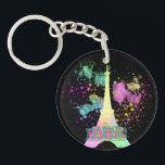 "Eiffel Tower Paris Rainbow Paint Splat Explosion Keychain<br><div class=""desc"">Paris the capital city of France, renowned for its, food, chic fashion, art and the famous Eiffel Tower which is illustrated here in an explosion of bright rainbow colored paint splatters with Paris in neon light style text. A pretty, stylish and modern choice. Click on the image below to see...</div>"