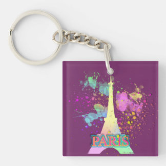 Eiffel Tower Paris Rainbow Paint Splat Explosion Single-Sided Square Acrylic Keychain