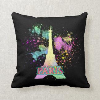 Eiffel Tower Paris Rainbow Paint Splat Explosion Throw Pillow