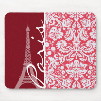 Eiffel Tower Paris Red Damask Mousepads