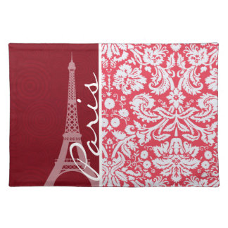 Eiffel Tower, Paris, Red Damask Placemat
