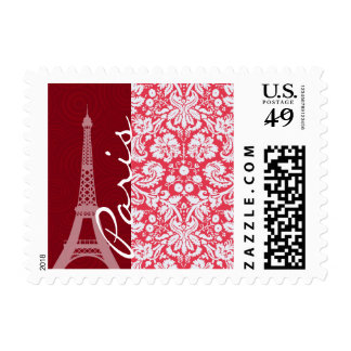 Eiffel Tower, Paris, Red Damask Postage