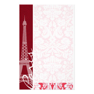 Eiffel Tower, Paris, Red Damask Stationery