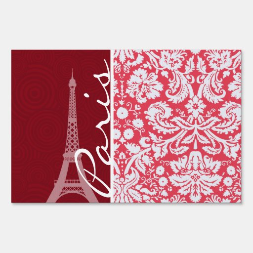 Eiffel Tower, Paris, Red Damask Lawn Signs