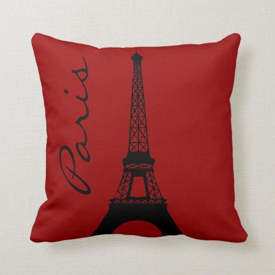 Paris Eiffel Tower Pillow 16 X 16: Eiffel Tower Paris Red Throw Pillow