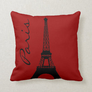 Eiffel Tower Paris Red Throw Pillow