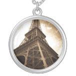 Eiffel tower Paris Round Pendant Necklace